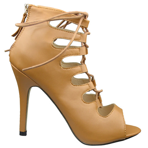 Womens Ankle Boots Lace Up Cut Out Sexy High Heels Brown