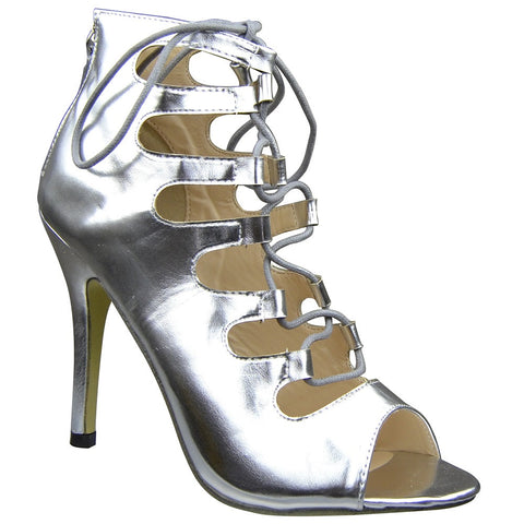 Womens Ankle Boots Lace Up Cut Out Sexy High Heels Silver