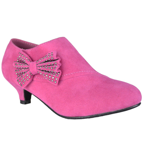 Kids Ankle Boots Suede High Heel Side