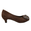 Kids Dress Shoes Accented Bow Suede Dress Pumps Brown