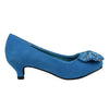 Kids Dress Shoes Accented Bow Suede Dress Pumps Light Blue