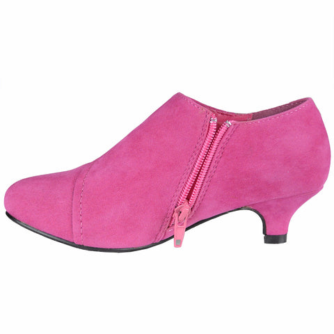 Kids Ankle Boots Suede High Heel Rhinestones Dress Shoes Pink