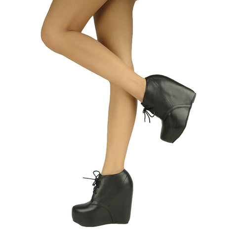 Womens Ankle Boots Sexy Lace Up Hidden Platform High Wedge Shoes Black