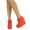 Womens Ankle Boots Sexy Lace Up Hidden Platform High Wedge Shoes Orange