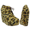 Womens Ankle Boots Sexy Lace Up Hidden Platform High Wedge Shoes Brown