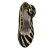 Kids Dress Shoes Zebra Print Flower Rosette Dress Pumps Gold