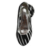 Kids Dress Shoes Zebra Print Flower Rosette Dress Pumps Silver