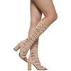 Womens Dress Sandals High Heel Buckle Accent Knee High Gladiators Nude