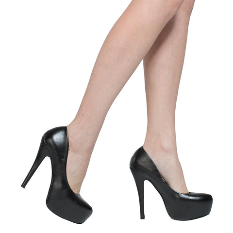 Womens Platform Shoes Closed Toe High Heel Faux Leather Stiletto Pump Black