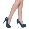 Womens Platform Shoes Closed Toe High Heel Faux Leather Stiletto Pump Blue