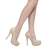 Womens Platform Shoes Closed Toe High Heel Faux Leather Stiletto Pump Nude