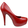 Womens Platform Shoes Closed Toe High Heel Faux Leather Stiletto Pump Red