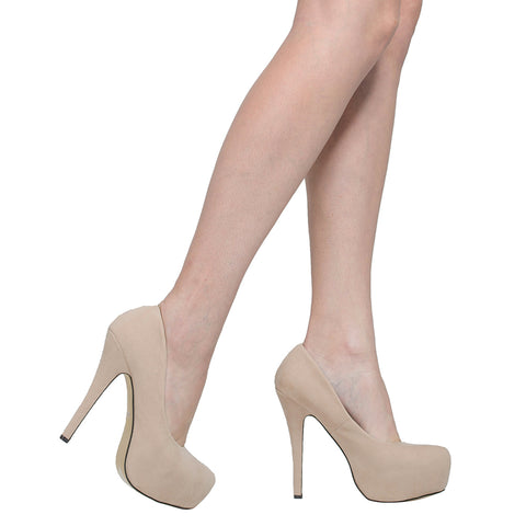 Womens Platform Sandals Closed Toe High Heel Stiletto Pumps Nude