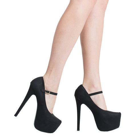 Womens Platform Shoes Ankle Strap Closed Toe Stiletto Pumps Black
