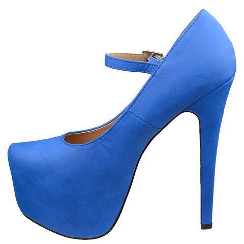Womens Platform Shoes Ankle Strap Closed Toe Stiletto Pumps Blue