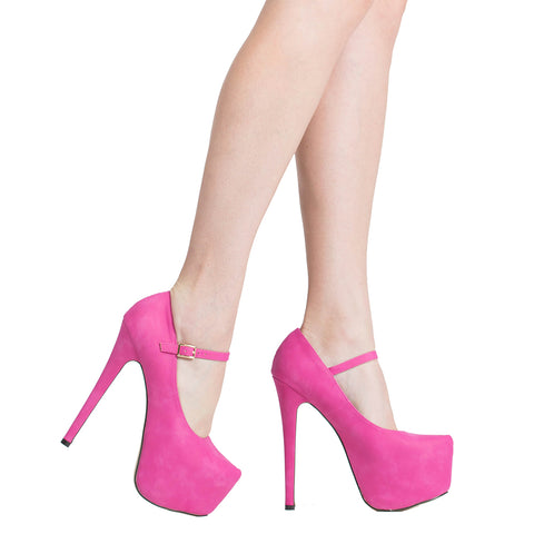 Womens Platform Shoes Ankle Strap Closed Toe Stiletto Pumps Pink