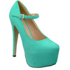 Womens Platform Shoes Ankle Strap Closed Toe Stiletto Pumps Mint