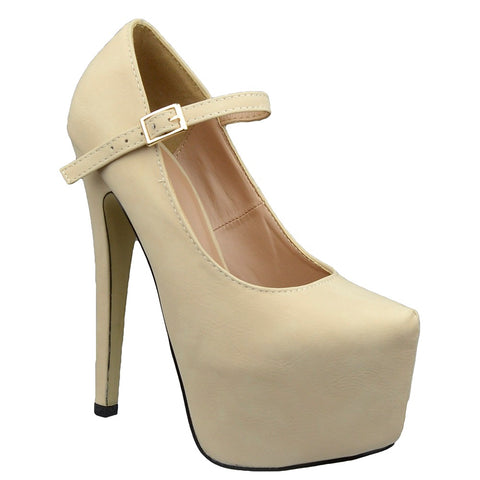 Womens Platform Shoes Ankle Strap Closed Toe Stiletto Pumps Nude