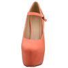 Womens Platform Shoes Ankle Strap Closed Toe Stiletto Pumps Orange