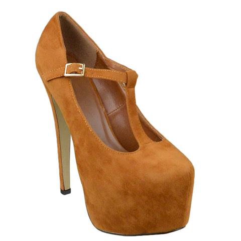 Womens Platform Shoes T-Strap Stiletto Pumps Closed Toe Shoes Brown