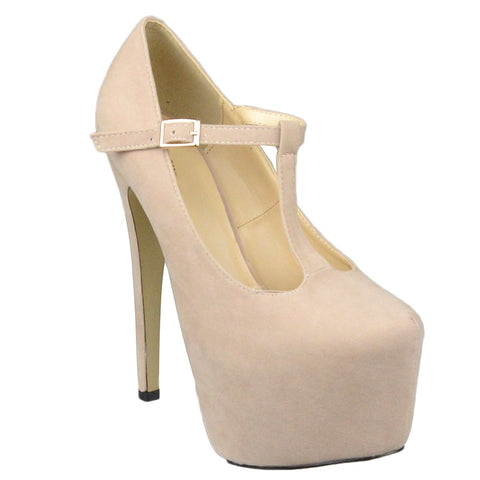 Womens Platform Shoes T-Strap Stiletto Pumps Closed Toe Shoes Nude