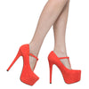 Womens Platform Shoes T-Strap Stiletto Pumps Closed Toe Shoes Orange