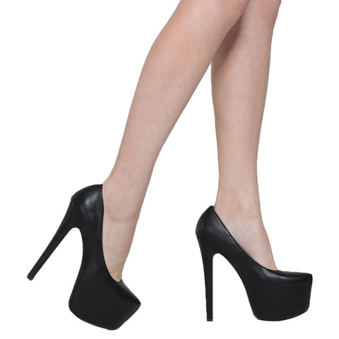 Womens Platform Shoes Faux Leather Stiletto Pumps Black