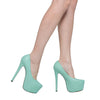 Womens Platform Shoes Faux Leather Stiletto Pumps Mint