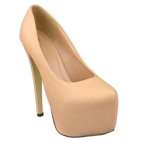 Womens Platform Shoes Faux Leather Stiletto Pumps Nude