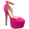 Womens Platform Shoes Back T-Strap Mid Open Stiletto Rhinestones Pumps Pink