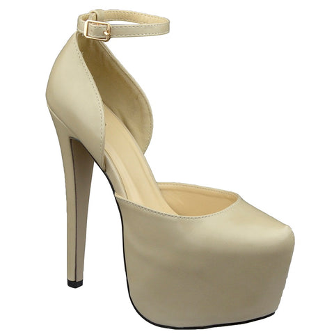 Womens Platform Shoes Back Strap Mid Open Stiletto Pumps Nude