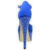 Womens Platform Shoes Rhinestone Studded Peep Toe High Heel Shoes Blue