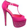 Womens Platform Sandals Rhinestone Studded Peep Toe High Heel Shoes Pink