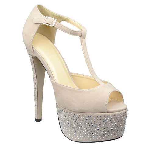 Womens Platform Sandals Rhinestone Studded Peep Toe High Heel Shoes Nude