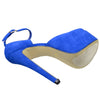 Womens Platform Sandals Peep Toe and Side Cutout Sexy Stiletto Shoes Blue
