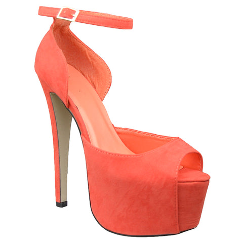 Womens Platform Sandals Peep Toe and Side Cutout Sexy Stiletto Shoes Orange