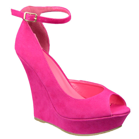 Womens Platform Sandals Peep Toe Cutout High Wedge Shoes Pink
