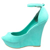 Womens Platform Sandals Peep Toe Cutout High Wedge Shoes Green
