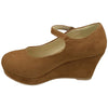 Kids Dress Shoes Ankle Strap Closed Toe Wedge Platform Pumps Brown