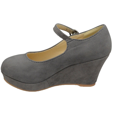 Kids Dress Shoes Ankle Strap Closed Toe Wedge Platform Pumps Gray