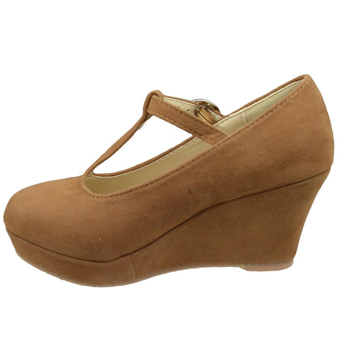 Kids Dress Shoes Platform Wedge Closed Toe Pumps Brown