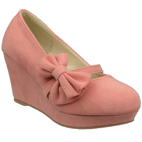 Kids Dress Shoes Platform Wedge Bow Accent Closed Toe Pumps Orange