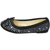 Kids Ballet Flats Rhinestone Stud Accent Slip On Dress Shoes black