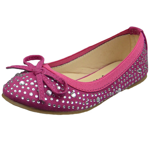 Kids Ballet Flats Rhinestone Stud Accent Slip On Dress Shoes Pink