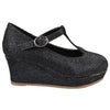 Kids Dress Shoes Glitter Mary Jane Wedge Platform Pumps Black