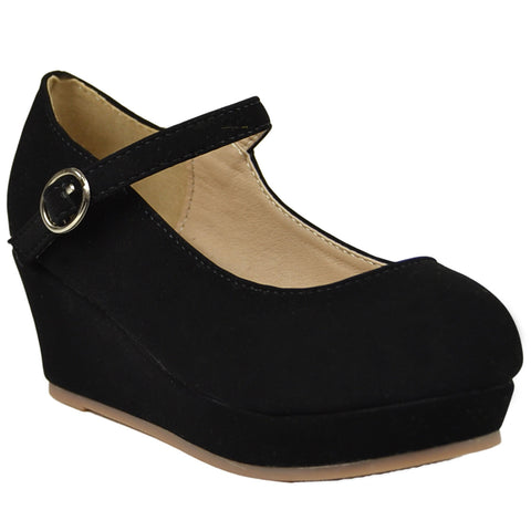 Kids Dress Shoes Mary Jane Ankle Strap Wedge Platform Pumps black