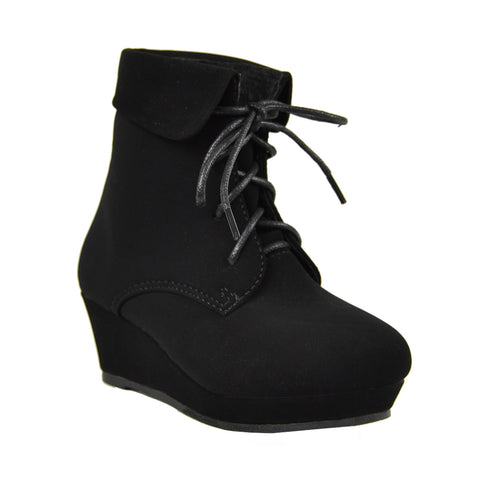 Kids Ankle Boots Lace Up Suede Casual Wedge Shoes black