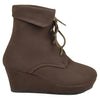 Kids Ankle Boots Lace Up Suede Casual Wedge Shoes Brown