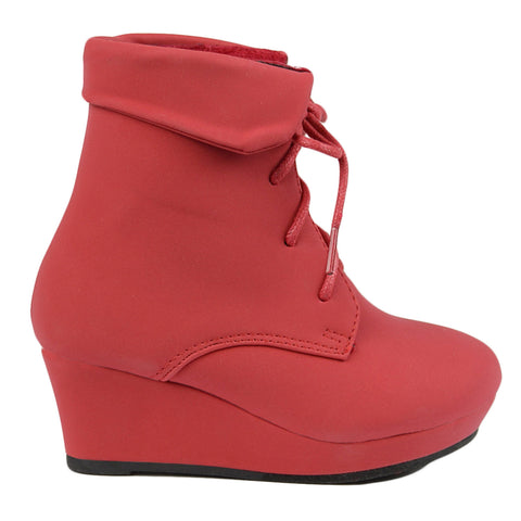 Ankle Kids Suede Boots Red Lace Shoes Wedge Up Casual xdCeWroQB