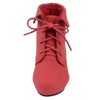 Kids Ankle Boots Lace Up Suede Casual Wedge Shoes Red